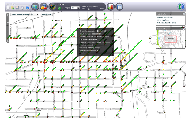 Screenshot of MnDOT's crash mapping analysis tool showing a map of crash locations.
