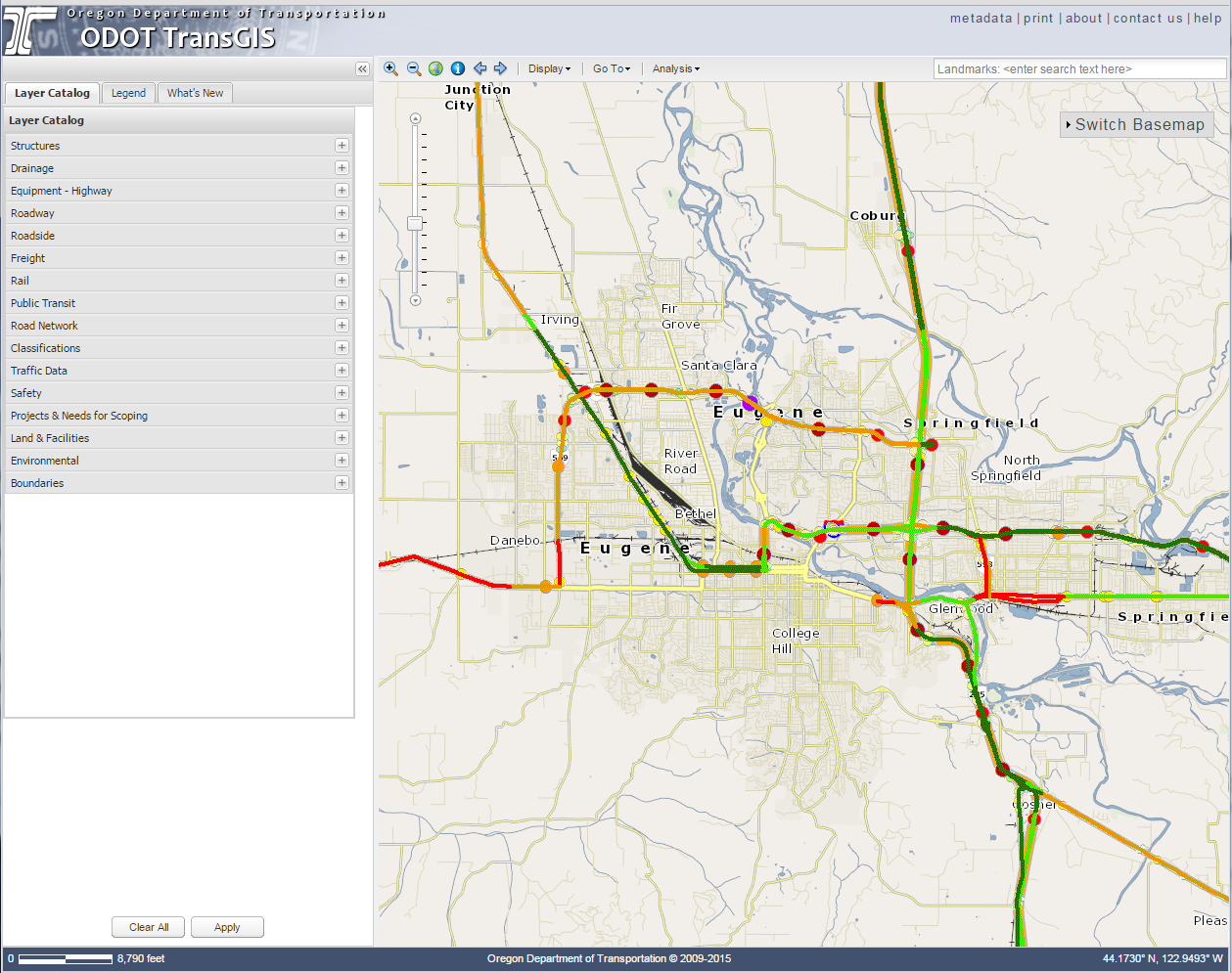 Screenshot of ODOT TransGIS program, showing map layers on the right and the displayed layers on a map to the left. Roadways around Eugene, OR are shown.