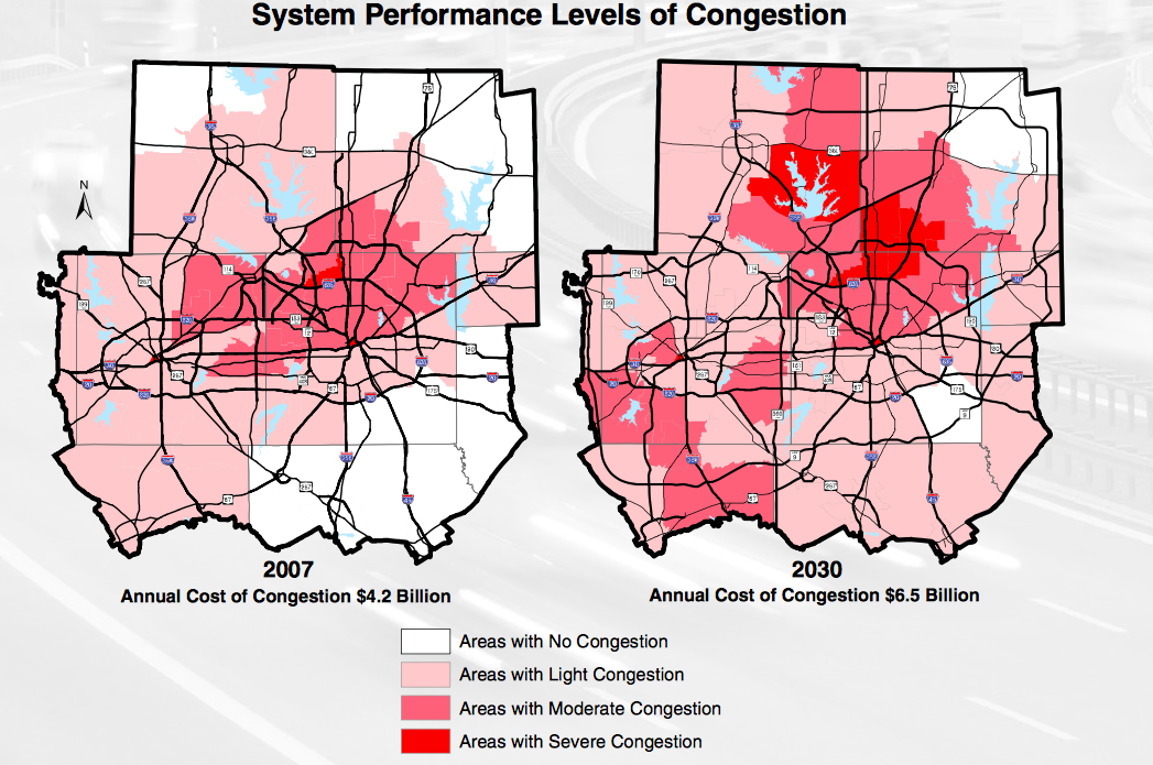 System performance levels of congestion in 2007 and 2030. Annual cost of congestion in 2007 is $4.2 billion and in 2030 is projected to be $6.6 billion.
