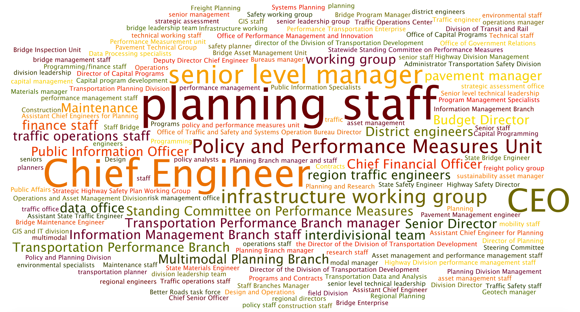 Word cloud. Largest words are planning staff, chief engineer, CEO, senior level manager, policy and performance measures unit.