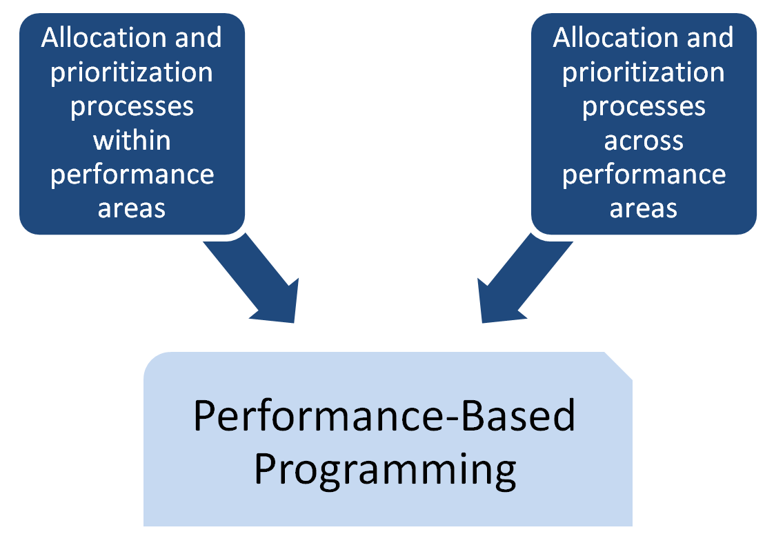 Performance-based programming component with description of subcomponents: allocation and prioritization processes within, and across, performance areas.