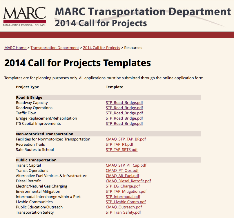 MARC Transportation Department 2014 call for projects. Screenshot of webpage listing templates available for project submission, including road and bridge, non-motorized transportation, and public transportation.