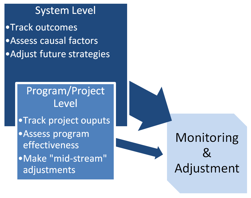 "Monitoring & Adjustment component with subcomponents: System Level (track outcomes, assess causal factors, adjust future strategies) and Program/Project Level (track project outputs, assess program effectiveness, make ""mid-stream"" adjustments)."