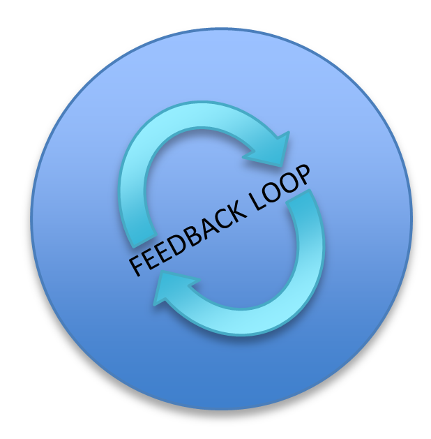 Feedback loop, circular arrow.