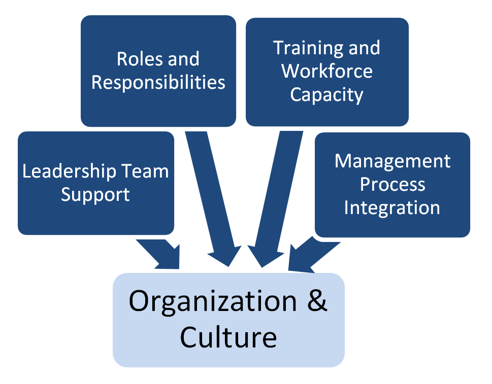 The Organization & Culture component with subcomponents of leadership team support, roles and responsibilities, training workforce capacity, and management process integration.