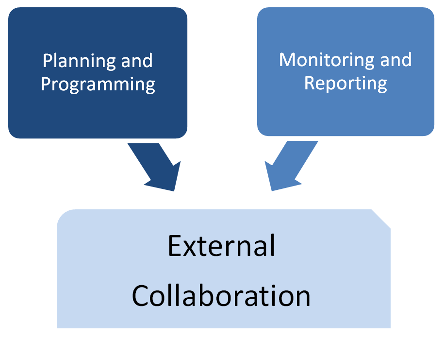 External Collaboration and Coordination component with subcomponents Planning and Programming and Monitoring and Reporting.