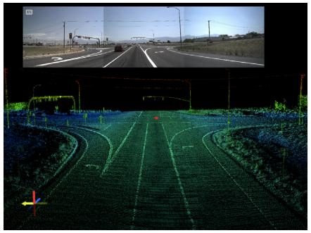 LiDAR image and corresponding roadway segment.