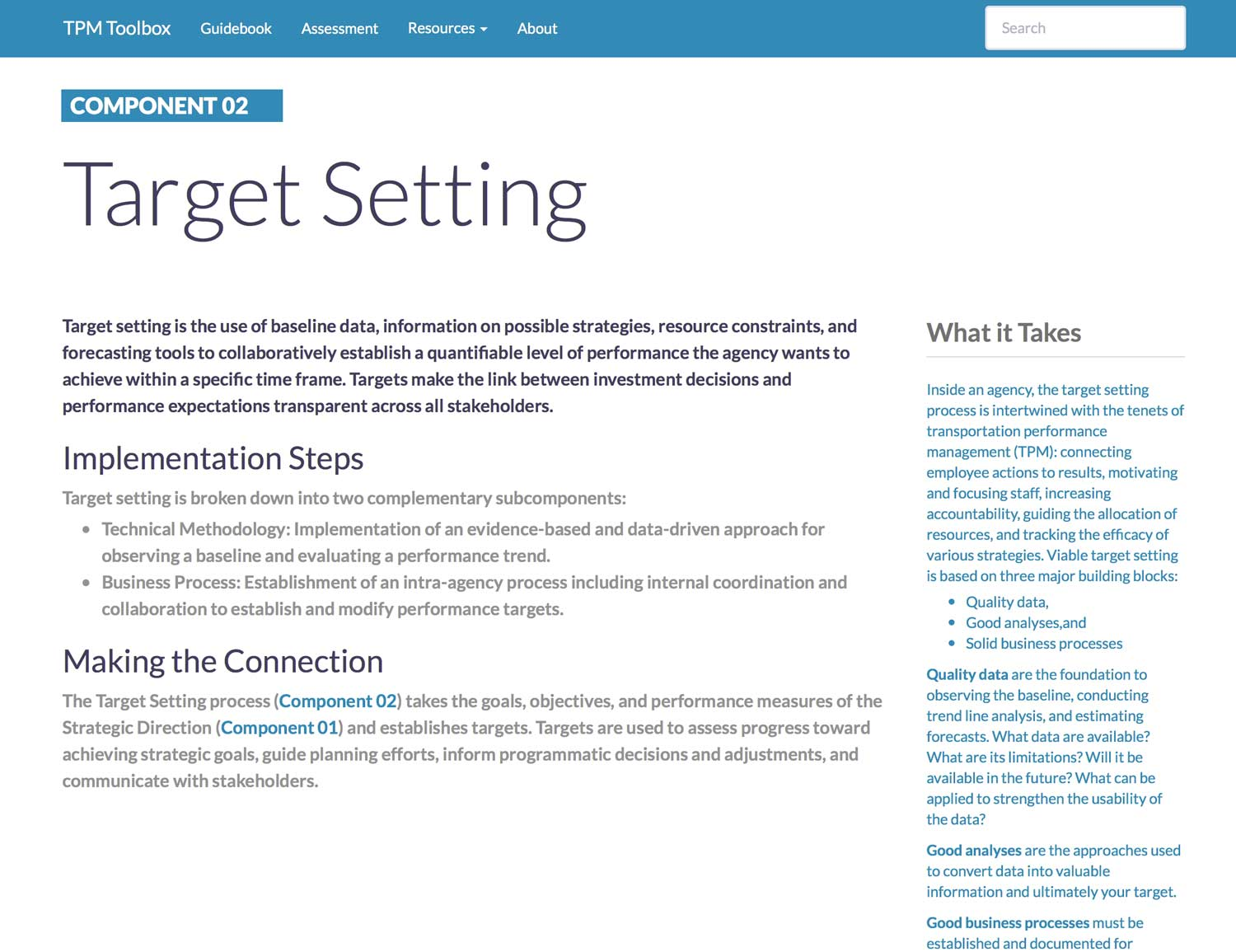 Thumbnail image of Component 02 Summary webpage. Target setting is the use of baseline data, information on possible strategies, resource constraints, and forecasting tools to collaboratively establish a quantifiable level of performance the agency wants to achieve within a specific time frame.