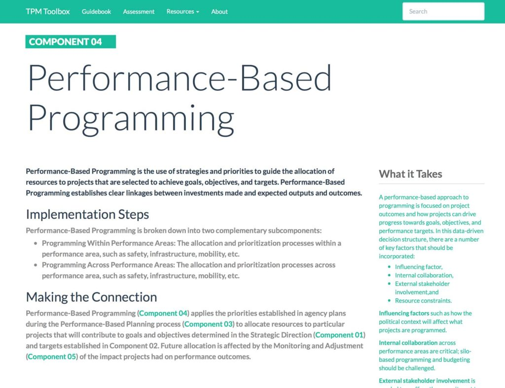 Thumbnail image of Component 04 Summary webpage. Performance-Based Programming is the use of strategies and priorities to guide the allocation of resources to projects that are selected to achieve goals, objectives, and targets.