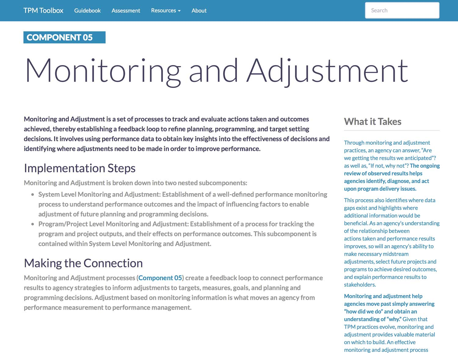 Thumbnail image of Component 05 Summary webpage. Monitoring and Adjustment is a set of processes to track and evaluate actions taken and outcomes achieved, thereby establishing a feedback loop to refine planning, programming, and target setting decisions.