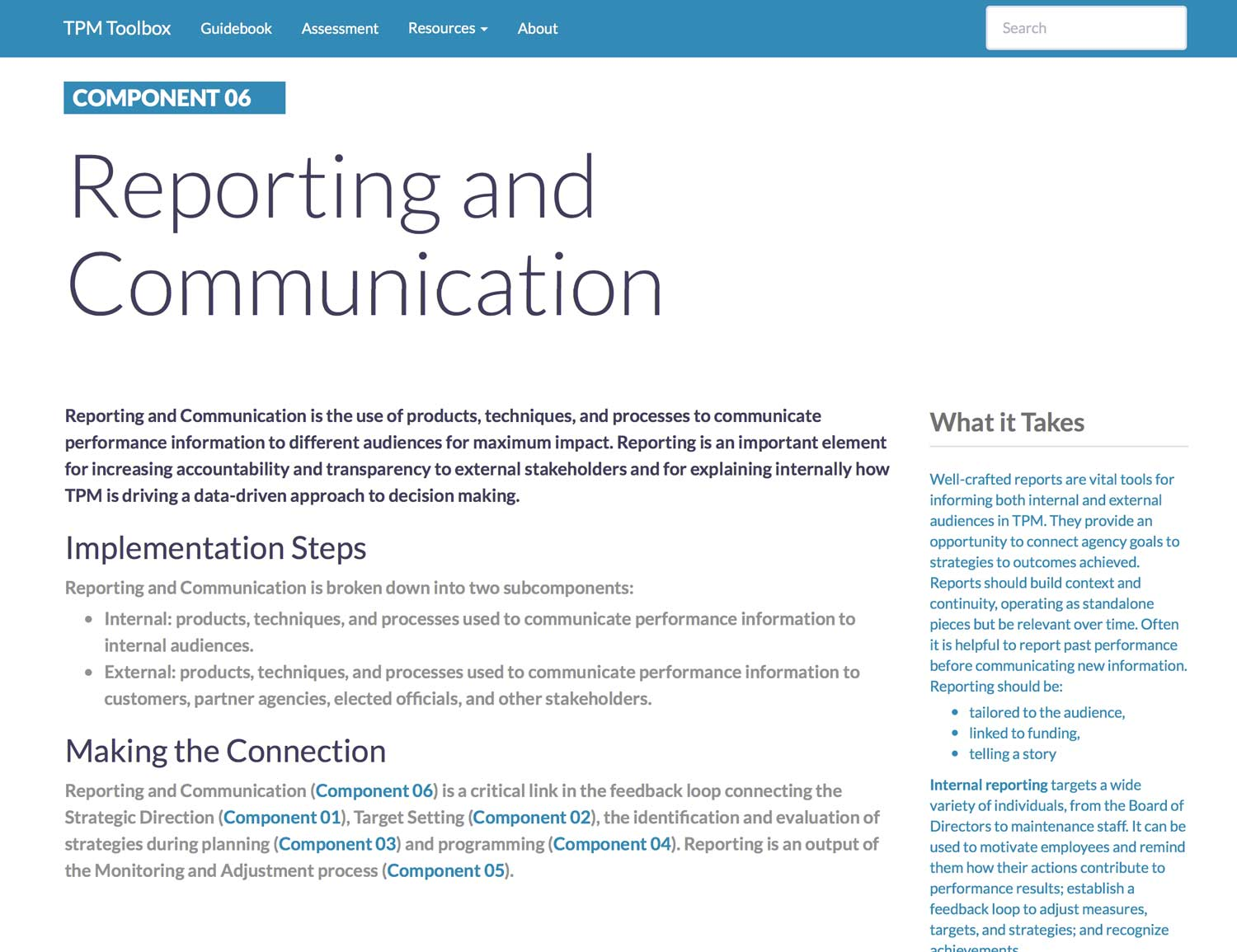 Thumbnail image of Component 06 Summary webpage. Reporting and Communication is the use of products, techniques, and processes to communicate performance information to different audiences for maximum impact.