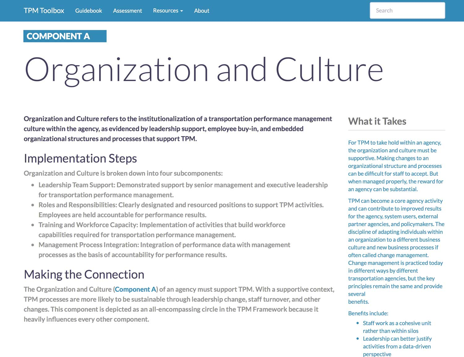 Thumbnail image of Component A Summary webpage. Organization and Culture refers to the institutionalization of a transportation performance management culture within the agency, as evidenced by leadership support, employee buy-in, and embedded organizational structures and processes that support TPM.