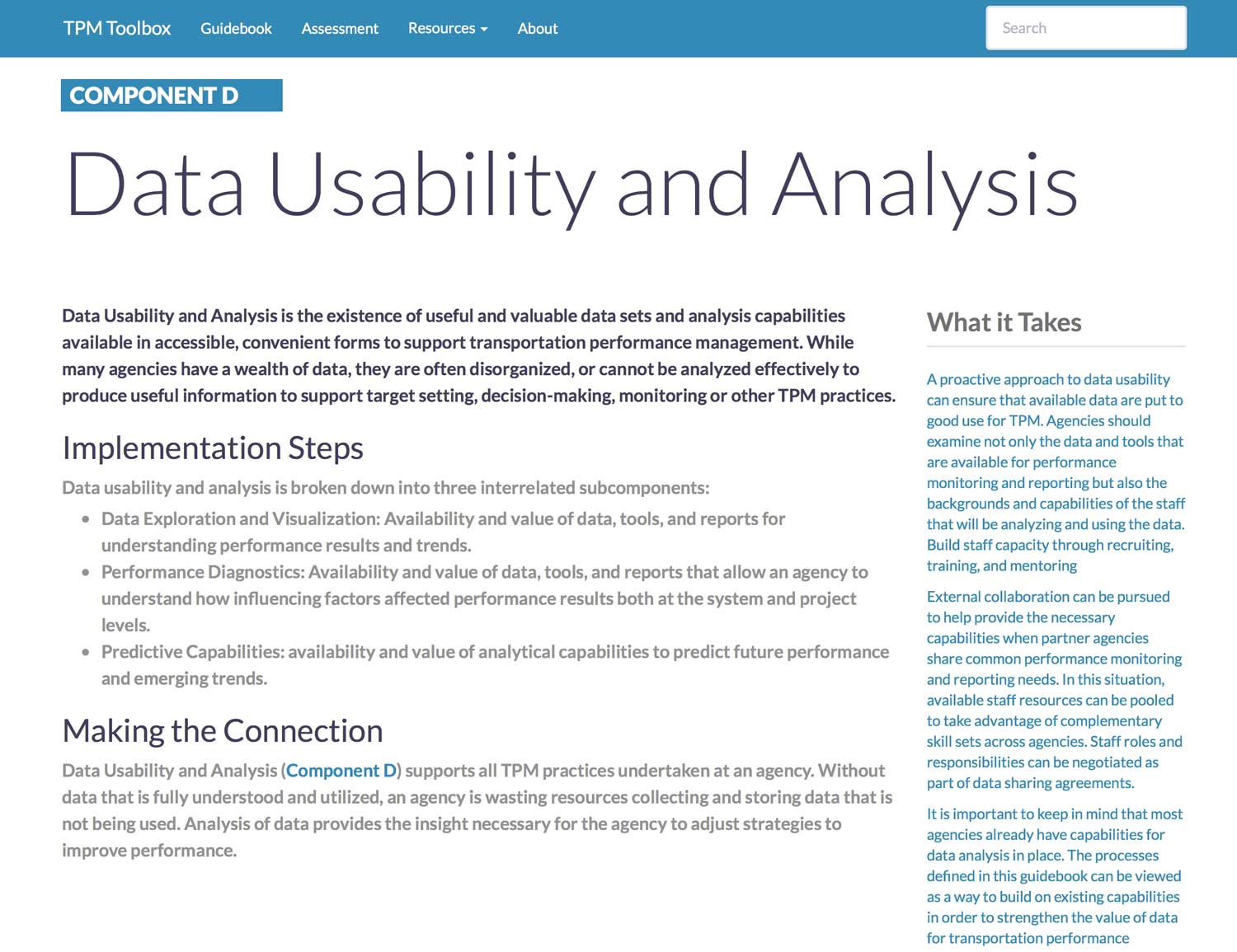 Thumbnail image of Component D Summary webpage. Data Usability and Analysis is the existence of useful and valuable data sets and analysis capabilities available in accessible, convenient forms to support transportation performance management.