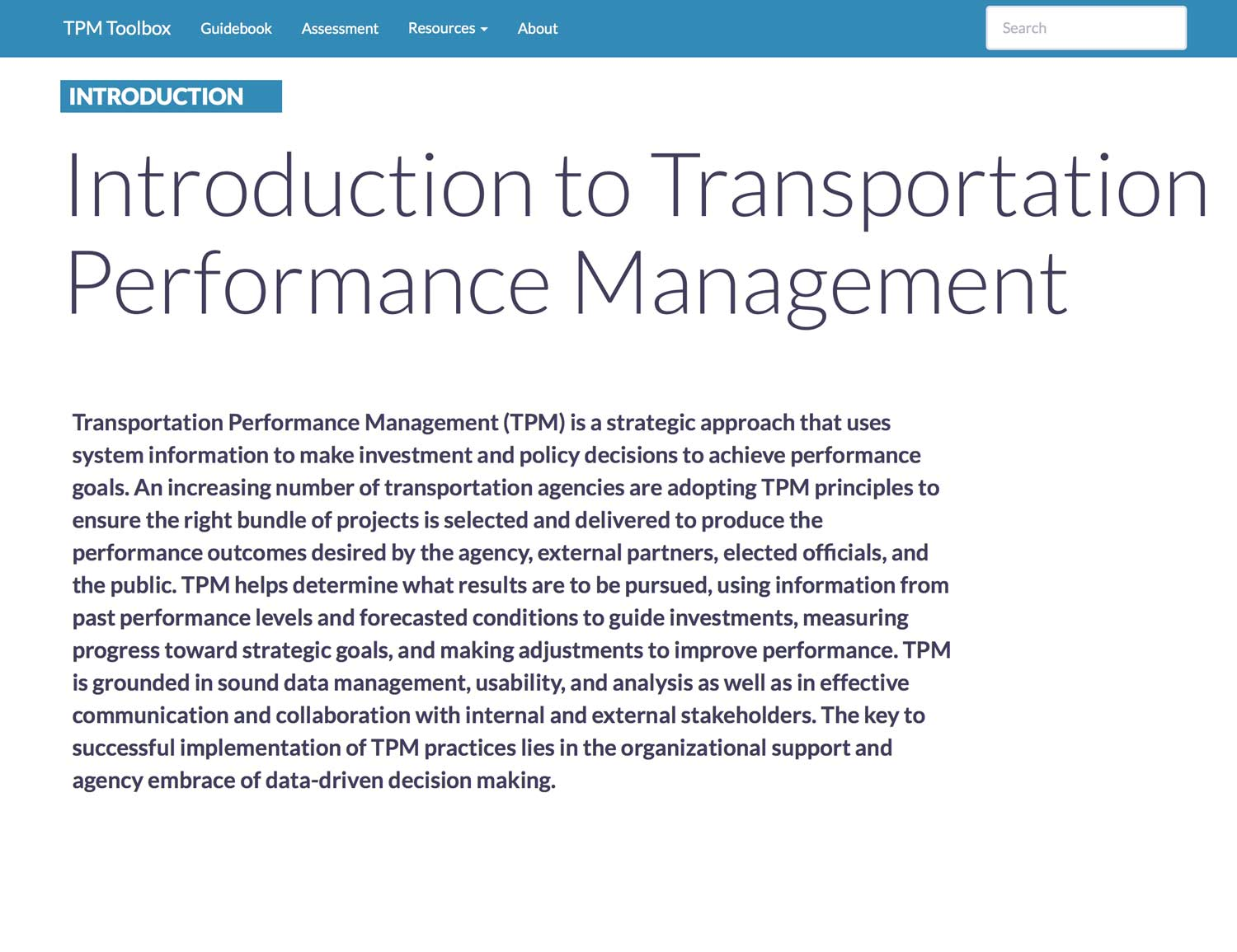 Thumbnail image of TPM Introduction Summary webpage.